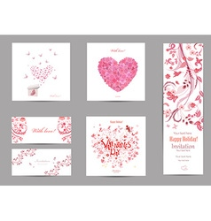 Collection romantic invitation cards with love vector