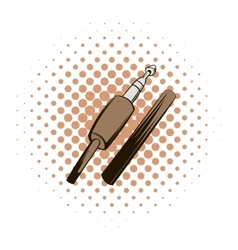 Audio jack connector comics icon vector
