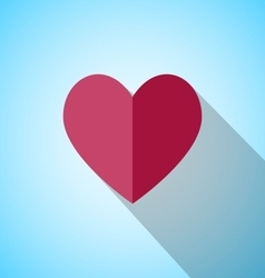 Red heart with long shadow vector image