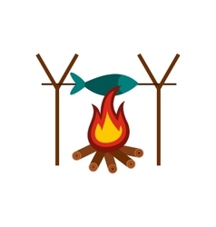 Fresh fish above fire icon vector
