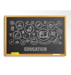 Education hand draw integrated icons set on school vector