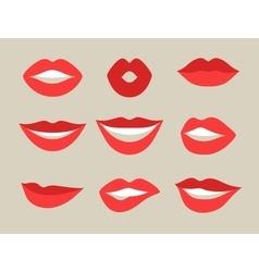 Female lips set Mouths with red lipstick in vector image