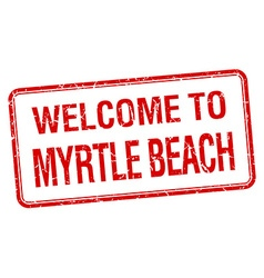 Welcome to myrtle beach red grunge square stamp vector