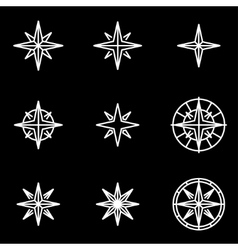 Line wind rose icon set vector
