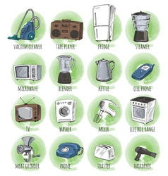 Hand drawn household appliances vector
