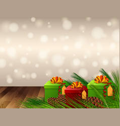 Background design with present boxes and pinecones vector