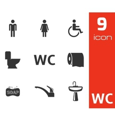 black toilet icons set vector image vector image