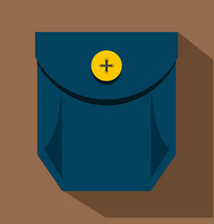 Blue jeans pocket with yellow button icon vector