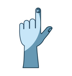 Blue shading silhouette of left hand gesture vector