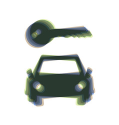 Car key simplistic sign colorful icon vector