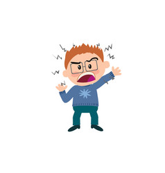 Cartoon character of a angry boy with glasses vector