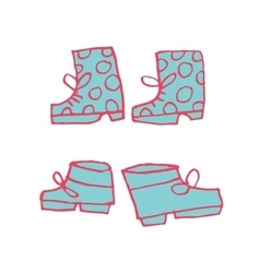 cartoon flat shoes set icon stickers vector image vector image