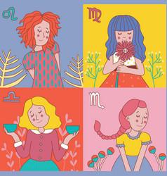 Cute horoscope girls zodiac vector