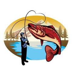 fisherman catch the big fish vector image