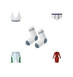 Flat icon dress set of trunks cloth clothes foot vector