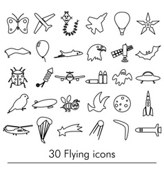 Flying theme theme outline symbols and icons set vector