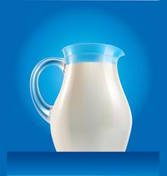 Fresh milk in jug with splash on blue background vector