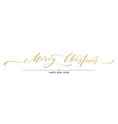 Gold glitter Merry Christmas lettering design vector image vector image