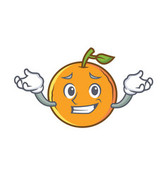 Grinning orange fruit cartoon character vector