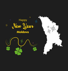 Happy new year theme with map of moldova vector