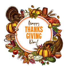 happy thanksgiving day sketch poster vector image