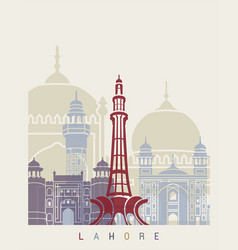 lahore skyline poster vector image