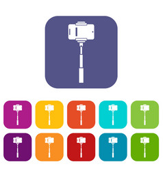 Mobile phone on a selfie stick icons set vector