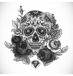 Monochrome skull diamond and flowers card vector