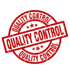 Quality control round red grunge stamp vector