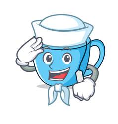 Sailor tea cup character cartoon vector