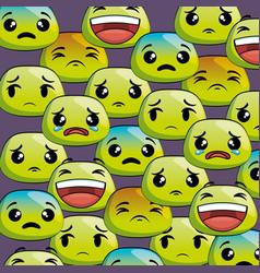 Set emoji faces pattern vector