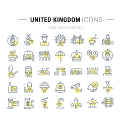 Set flat line icons uk vector