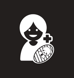 Stylish black and white icon mother and daughter vector
