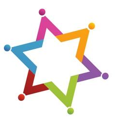 Teamwork star people logo vector image vector image
