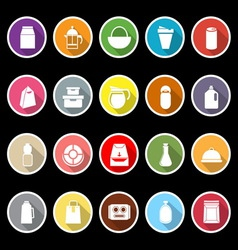 Variety food package flat icons with long shadow vector