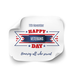 Veterans day background on paper banner vector