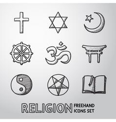World religion hand drawn symbols set vector