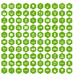 100 virtual icons hexagon green vector