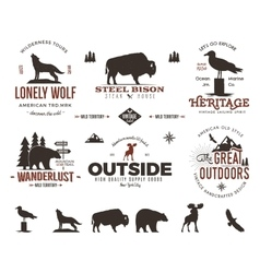 Wild animal badges set and outdoors activity vector