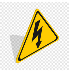 High voltage sign isometric icon vector