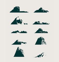 mountain icons set mountains landscape vector image