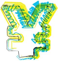 Sketch Yen Symbol vector image