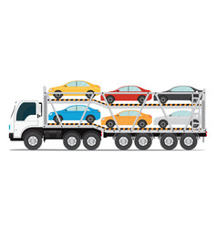 Trailer transports cars with new auto vector