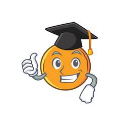 Graduation orange fruit cartoon character vector