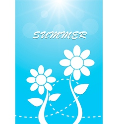 White flower on blue sky summer background vector image