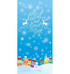 Winter holidays card with houses handwritten text vector