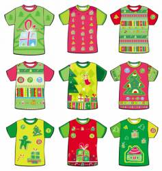 Christmas funky t-shirts vector