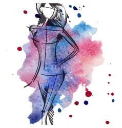Art background with beautiful young fashion woman vector