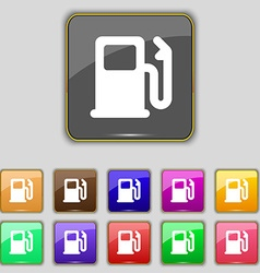 Petrol or gas station car fuel icon sign set with vector