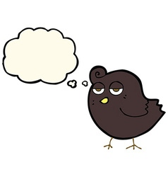 Cartoon bird with thought bubble vector